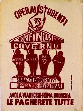 """Manifesti del Movimento Studentesco di Bologna, 1968  """"Avola, Viareggio, Roma, Bologna: le pagherete tutte!"""""""
