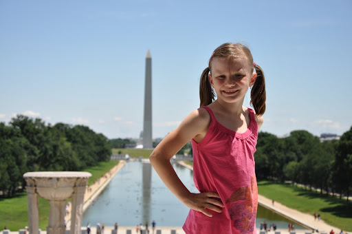 Natalie on the steps of Lincoln's Memorial.
