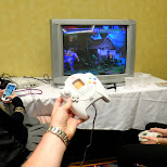 playing dreamcast in the eve in Toronto, Ontario, Canada
