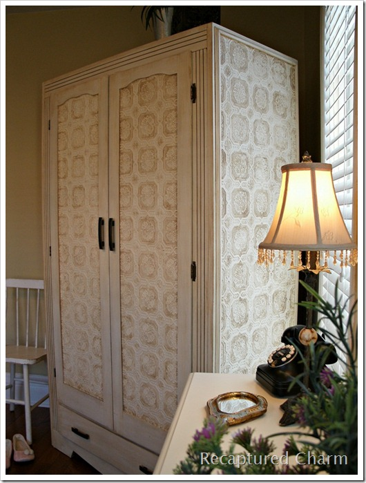 wallpapered armoire 034a