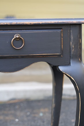 distressed black sofa table
