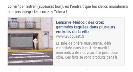 actes antimusulmans en Aquitània