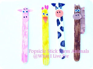 Popsicle Stick Farm Animals @ What I Live For