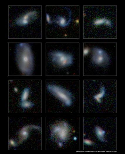 milhares de galáxias em fusão