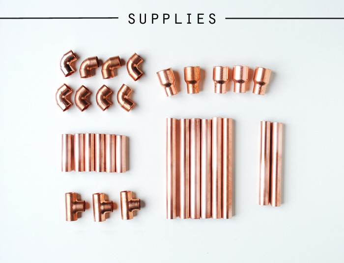 Supplies for Copper Pipe Candelabra