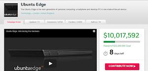 Ubuntu Edge: superati i 10 milioni
