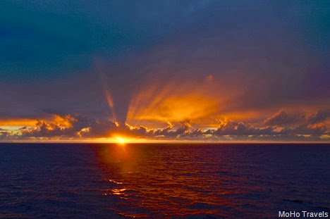 Friday morning sunrise on the Pacific.  Third full sea day November 2012