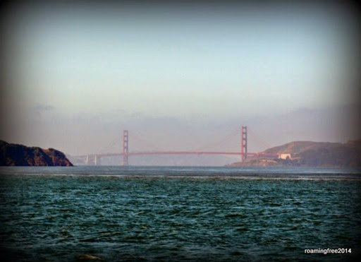 Golden Gate Bridge -- difficult to see in the morning fog