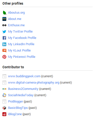 profile links in google+