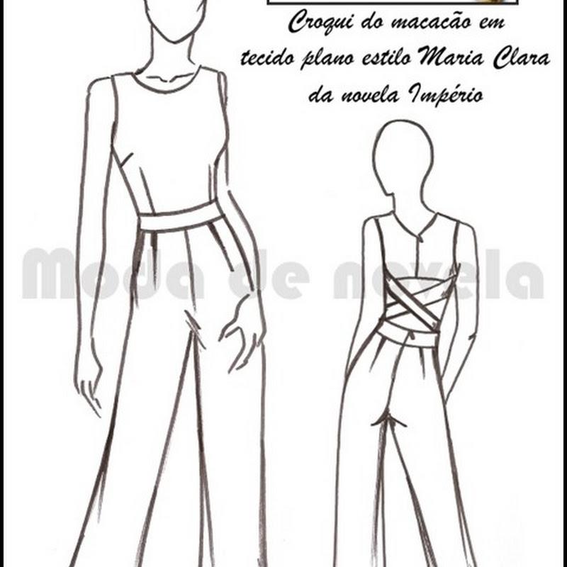 O macacão original da Maria Clara custa 1.800 reais, na loja virtual Moda de Novela você compraria meia dúzia de um modelo similar