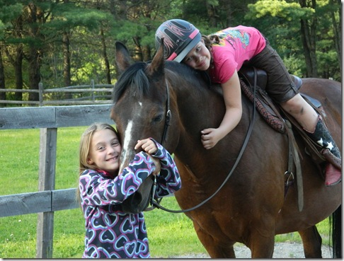 Katy and Taylor riding Lil&#39; Bud 2011 013