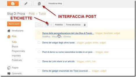 post su blogger nuova interfaccia