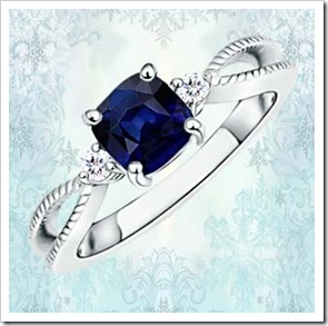 Cushion Sapphire and Round Diamond Split Shank Ring