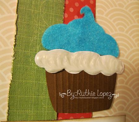 Cupcake card - Latina crafter - stamping paper 2