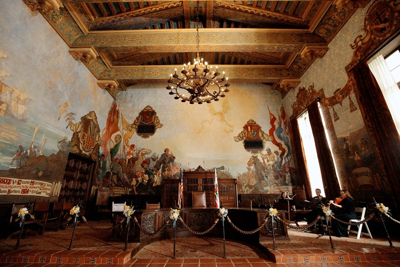 Santa barbara courthouse san ysidro ranch winter wedding feautred for Mural room santa barbara