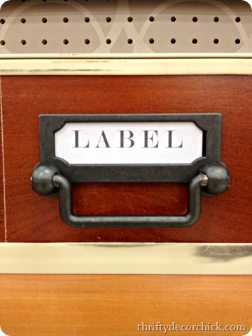 drawer pull with label