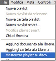File-Masterizza playlist sul disco iTunes