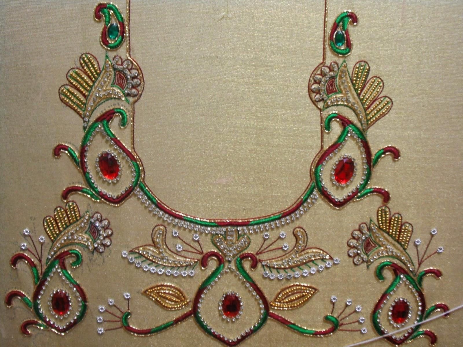 Zardosi Work Blouse Designs 25