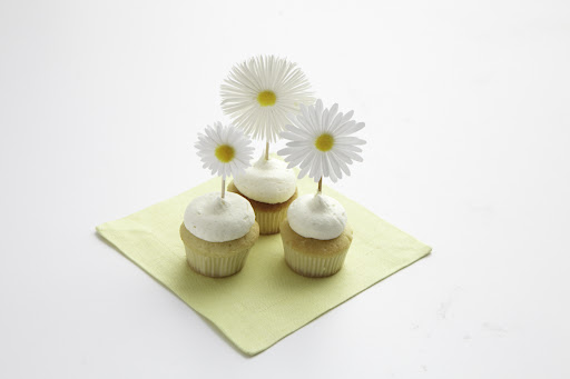 Adorable mini cupcakes from Butterfly Bakeshop with Martha Stewart Craft daisy stickers adorning the toothpicks.