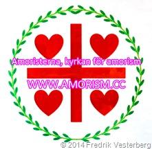 DSC09539 (1) Amoristerna standar flagga röd grön vit (1) bättrad färg 2 logotyp text Amoristerna kyrkan för amorism