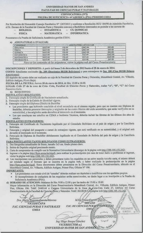 Inscripciones UMSA 2014