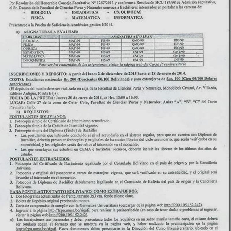 Convocatoria  para la PSA 2014 de la Facultad de Ciencias Puras de la UMSA