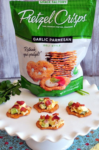 Pretzel Crisps Bacon and Egg Salad Bites
