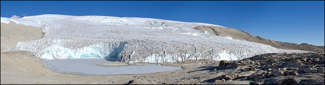In this 2012 photograph, a glacier on the Quelccaya ice cap in Peru, the largest piece of ice in the tropics, which is melting at an accelerating pace. Scientists conclude that the glacier is sensitive to temperature and that other factors, like the amount of snowfall, are secondary, thus supporting the view that the glacier can essentially be viewed as a huge thermometer. Photo: Doug Hardy