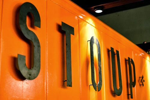 Stoup Brewing logo featured on the bar wall. Photo courtesy Darrell Benedict