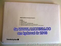 DSC09164.JPG Kuvert med valsedlar kuvert och kuvert för poströstning. Valsedlar kyrkoval 2013. Med amorism