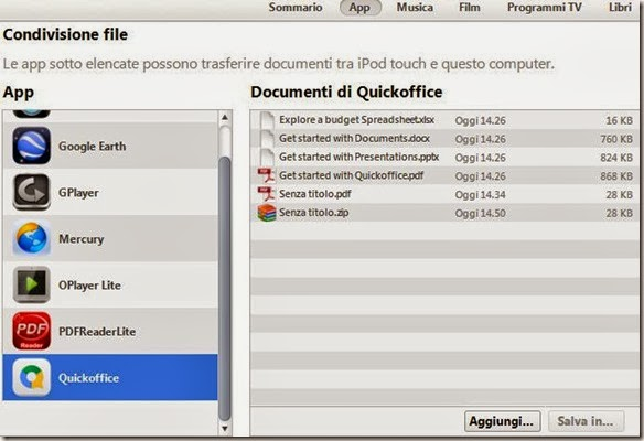 Aggiungere documenti Office da iTunes