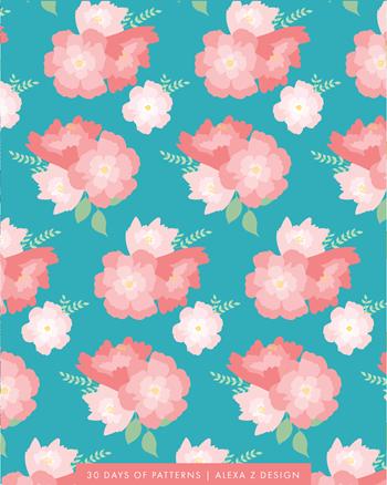 floral teal - Alexa Z Design pattern