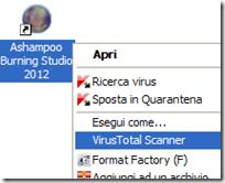 VirusTotal Scanner voce nel menu contestuale del mouse