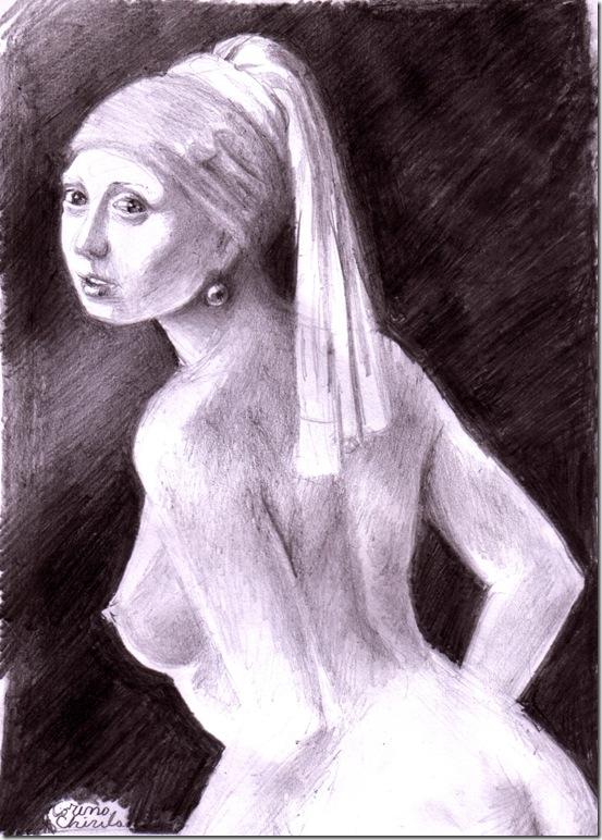 Girl with pearl earing mude pencil drawing - Fata cu cercelulu cu perla reproducere dupa piictorul olandez Johannes Vermeer desen ijn creion