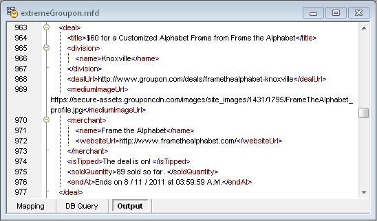 Output data from the MapForce mapping for the Groupon API
