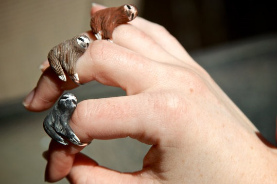 Sloth Rings from CuriousBurrow on Etsy