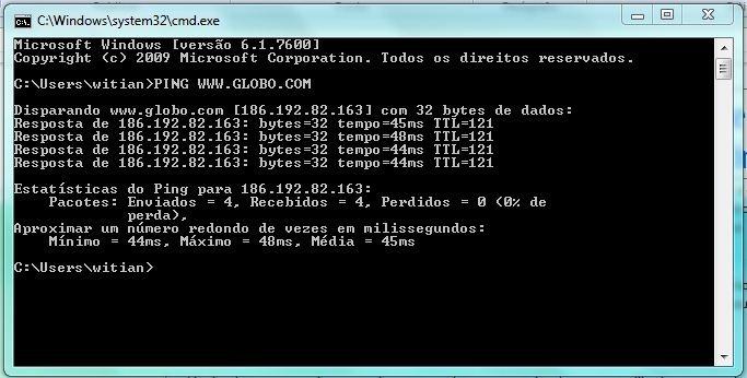 Como fazer o teste de Ping - para que serve e como funciona - Teste a velocidade da internet - abra a janela do DOS e digite o comando do PING www.globo.com - RESULTADOS
