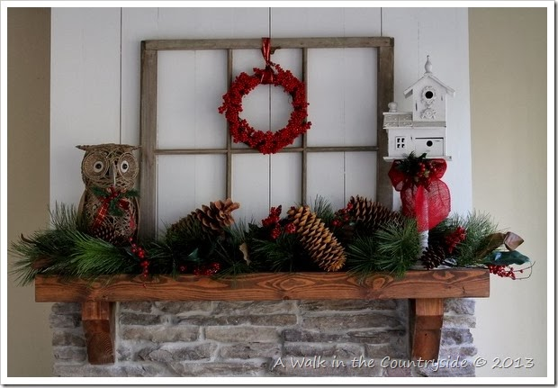 christmas woodland mantel 2013