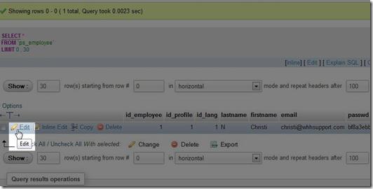 jendela edit tabel ps-employee