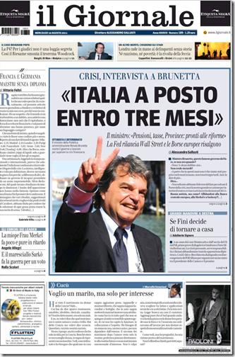 La rpima pagina de Il Giornale del 10 agosto 2011