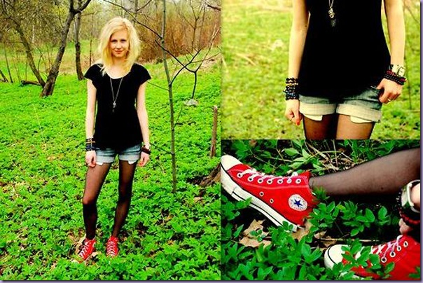 Vermelho-All-Star-Tênis-Short-Jeans-Meia-calça