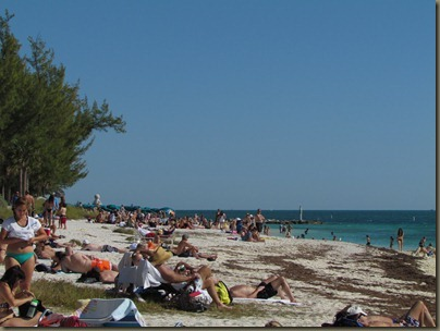 crowded beach at fort zachary taylor sp