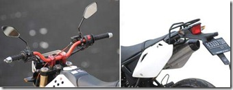 Modified Kawasaki KLX 150 White Supermoto Upside Down muffler