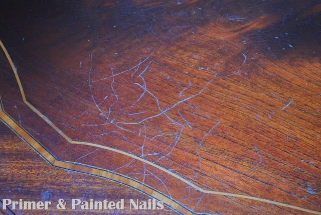 Kitchen Table Before Up Close 2 - Primer & Painted Nails