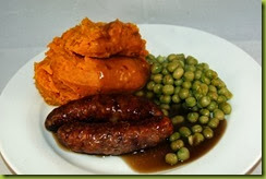 sausages with sweet potato mash