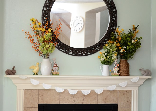 Easter and Spring Mantle Decor