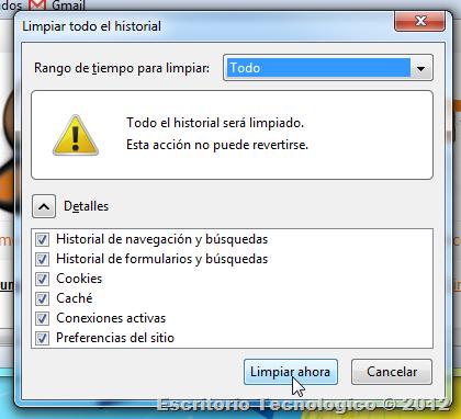 Como borrar el historial: Mozilla Firefox 5