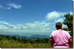 Gin enjoying the beautiful view at an overlook on Skyline Drive