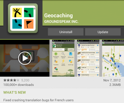 Geocaching version 2.5.1 for Android