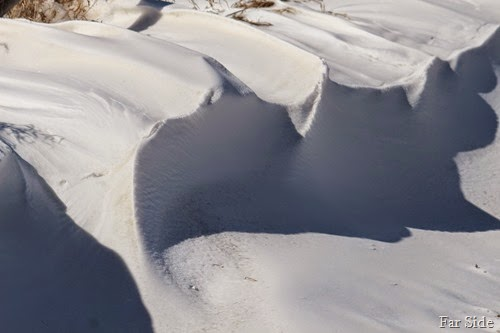 Snow drifts like meringue